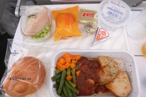 フィンエアーエアバスA350-900XWBの最初の食事