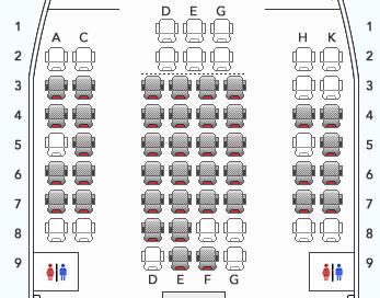 羽田発沖縄行きボーイング777-300 (773)のJAL特便割引・普通運賃の座席指定画面