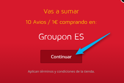 イベリア航空IberiaPlusStore内のGROUPON遷移画面