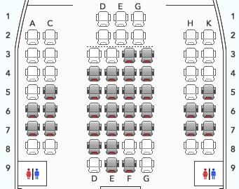 羽田発沖縄行きボーイング777-300 (773)のJAL先得運賃の座席指定画面